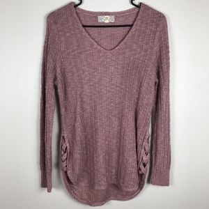 3/$20 Pink Republic Lace Up Ribbed Sweater